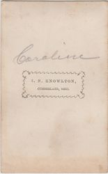 I. N. Knowlton, photographer of Cumberland, OH - back