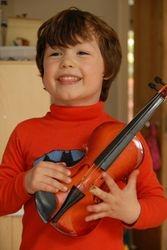 A budding violinist...
