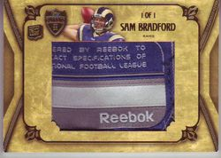 2010 TOPPS SUPREME RC SAM BRADFORD REEBOK PATCH 1 OF 1