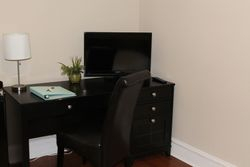 Desk area with TV