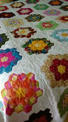 Stunning Hand-Sewn Hexi Quilt