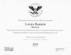 Presidents Volunteer Service Award for helping Veterans