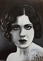 """Mignon Anderson"", ""American Silent film Actress"",""Star"", ""Movie Star"", ""Movie Actress"", ""Miss Robinson Crusoe"", ""Robert Emmet"", ""actress"", ""acrylic on canvas, by Fin Collins, part of The Film Icons Collection www.filmiconsgallery.com"