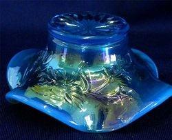 Intaglio Flower, ruffled dish, blue opal, Westmoreland