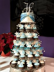 Winter Snowflake Wedding Cupcake tower