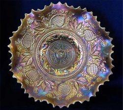 Fanciful ruffled bowl, peach opal