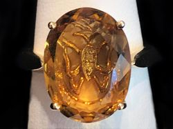 Honey Quartz ring with butterfly setting