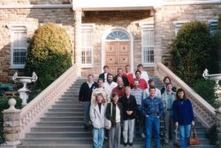 Some of the Reunion attendees on the steps of a Chatue in the Barossa Valley - June 1992