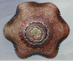 Persian Medallion ruffled bowl, amethyst