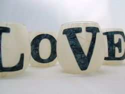 Cream and Blue LOVE Small Tealight Set