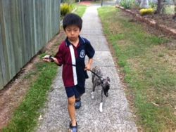 Io leading little Muffy