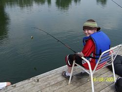 Mike caught a fish at Camp Trillium