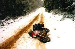 1999  Easier riding on mud.  Oops - time for a lie down