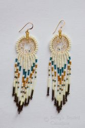 Beaded Dreamcatcher Earrings with fringe