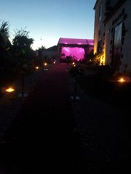The marquee lit up in pink for the evening