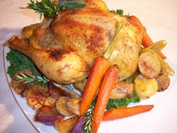 Whole Roasted Garlic Chicken & Vegetables