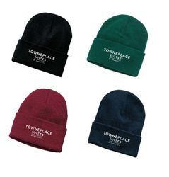 Ski Hats, Knitted. Black, Green, Maroon or Navy Blue - 1 Size Fits All - 100% Acrylic