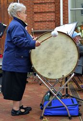 "Mrs, ""Drumpower"" on the bass drum"