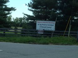 Sign displayed by a farmer in Woodbine