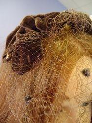Vintage Brown Velvet Fascinator Birdcage Veil Close Up
