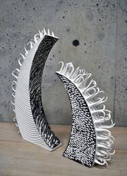 Porcelain and black slip sculptures