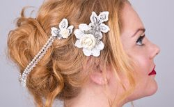 Lace rose brooch hair ornaments