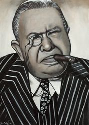 """Charles Coburn"", ""Film actor"", ""Comedian"", ""Soundtrack"", ""Best Supporting Actor"", ""The More the Merrier"", acrylic on canvas, by Fin Collins, part of The Film Icons Collection www.filmiconsgallery.com"