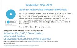 Back to School Self Defense Workshop!