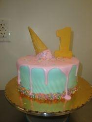 8 inch melting ice cream cone cake $75