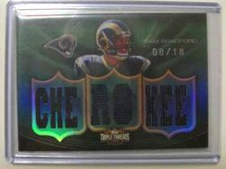 2010 Sam Bradford triple Threads 1/1 #8/18 RC AWESOME!!      Enlarge  Sell one like this   2010 Sam Bradford Rookie Triple Threads 1/1 #8/18 RC