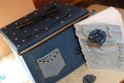 Embellished Denim & Diamonds Gift Card Box and Guest Book