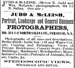 Judd & McLeish, photographers, Syracuse, NY