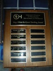 Meg's Plaque for Scholarship Recipients
