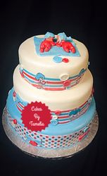 Thing one and thing two baby shower cake
