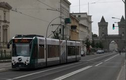 Siemens Combino no. 411 heading North, on Friedrich-Ebert-Straße