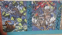 2 of a 4 panel mosaic mural (koalas/ lizards)