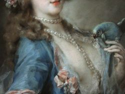 Carriera, Lady with a Parrot, C1730, pastel, Chicago, detail
