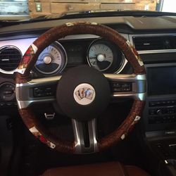 Finished steering wheel cover