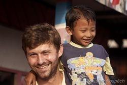 Stan with kid in Kampung Baru