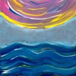 Ocean Sun, Tempera, 4x4, Original Sold