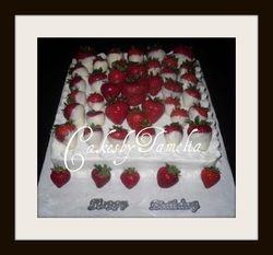 All white cake with white chocolate strawberries cake