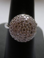 18ct White gold pave set dome ring