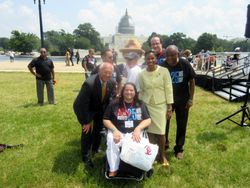 Alec Frazier of Autistic Reality and Some of the New York NCIL Delegation with Congressman Paul D. Tonko and Congresswoman Yvette Clarke at the Rally at 2015 NCIL Conference