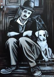 """Charlie Chaplin"", ""A Dog's Life"",""United Artists"", ""Comic Actor"", ""Best actor"", ""Composer"", ""Filmmaker"", ""Film Director"", ""Producer"",acrylic on canvas, by Fin Collins, part of The Film Icons Collection www.filmiconsgallery.com"