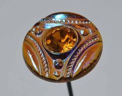 contemporary Czech button made into hatpin, amber