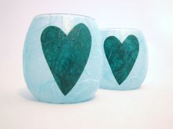 Pale Blue and Teal Folk Heart