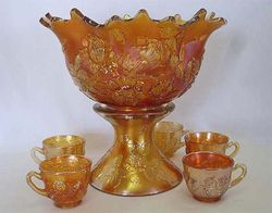 Wreath of Roses ruffled punch bowl and cups, marigold