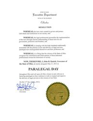 Proclamation by Governor John J. Kasich