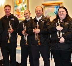 Dr. Douglas Hedwig (left side) with Trumpet Students