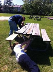 Our picnic table in bad shape!